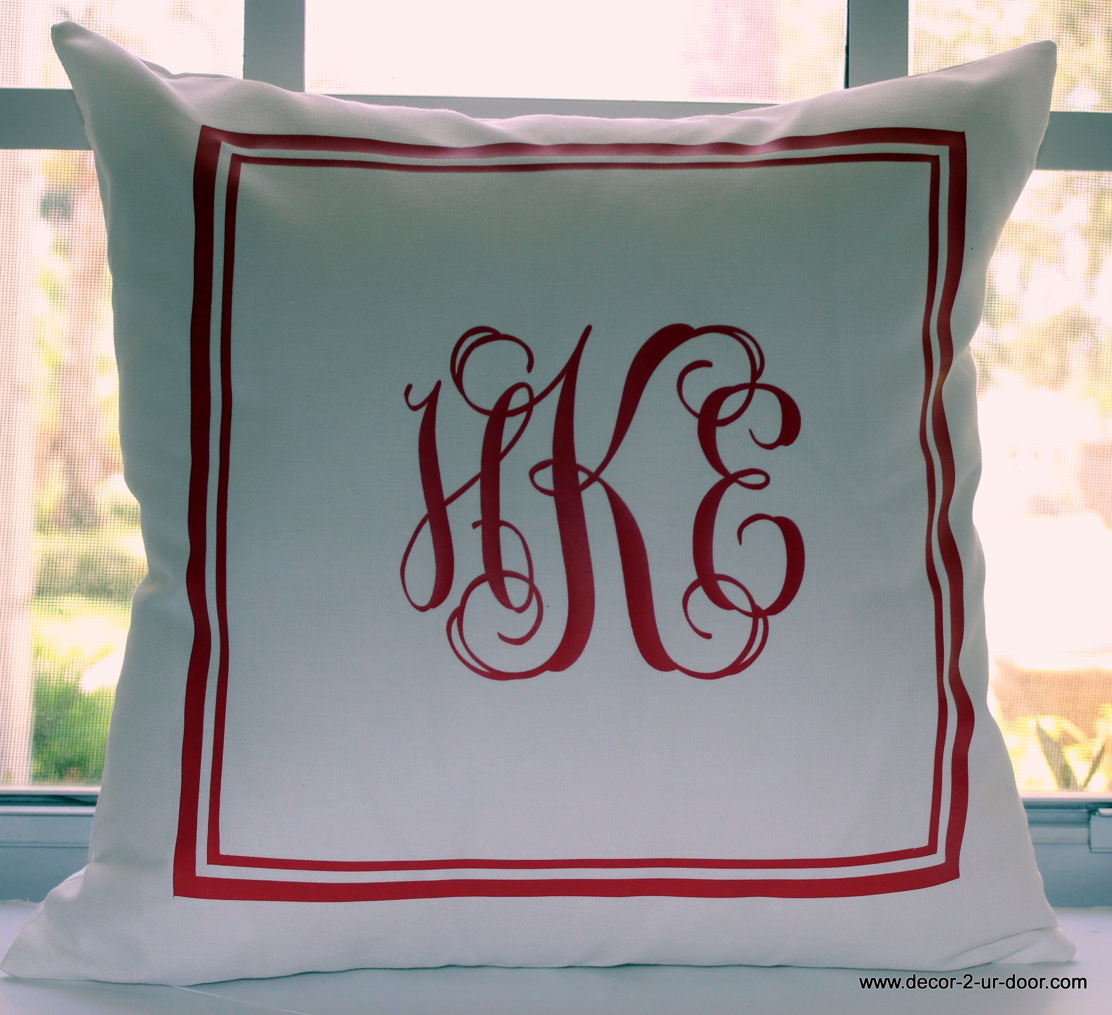 Throw Pillows Dorm Room : custom monogrammed coral and white pillow Decorate Your Dorm Room Pinterest White pillows ...