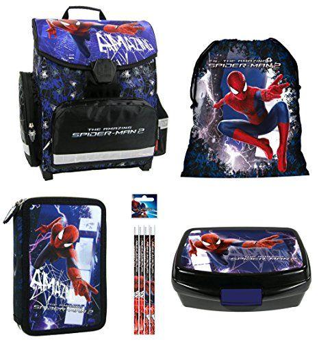 e108f01f556af Spiderman Schulranzen Jungen 1 Klasse Tornister Schulrucksack Schultasche  SET 5 teilig für Grundschule super leicht unter