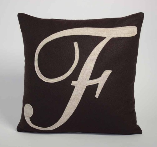 Felt Used To Make This Pillow Comes From 100 Percent Post Consumer Recycled Water Bottles Insert Is Also Ma Applique Pillows Monogram Letters Monogram Pillows