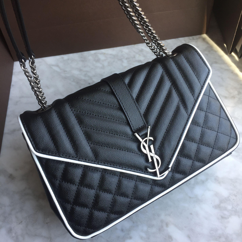 1d113e1082fc YSL Saint Laurent woman chain bag caviar leather black with white trim