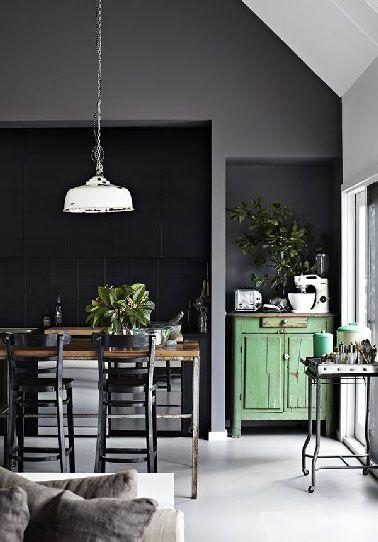 Déco cuisine vintage ouverte sur salon moderne gris Salon moderne
