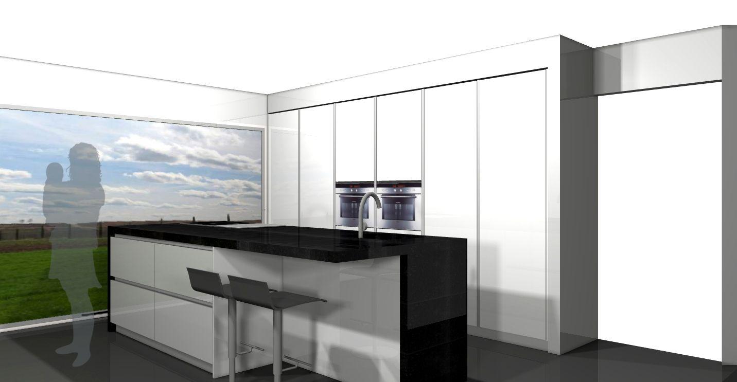 (VISTA 1) Cocina SANTOS modelo LINE-E (estratificado mate, con doble gola blanca). Encimera en GRANITO negro intenso de 6 cm de grosor acabado ingletado.