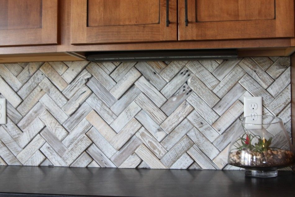 Innovative Hardwood Subway Tiles Backsplash For Perfect Kitchen Scheme With  Wooden Varnished Cabinets And