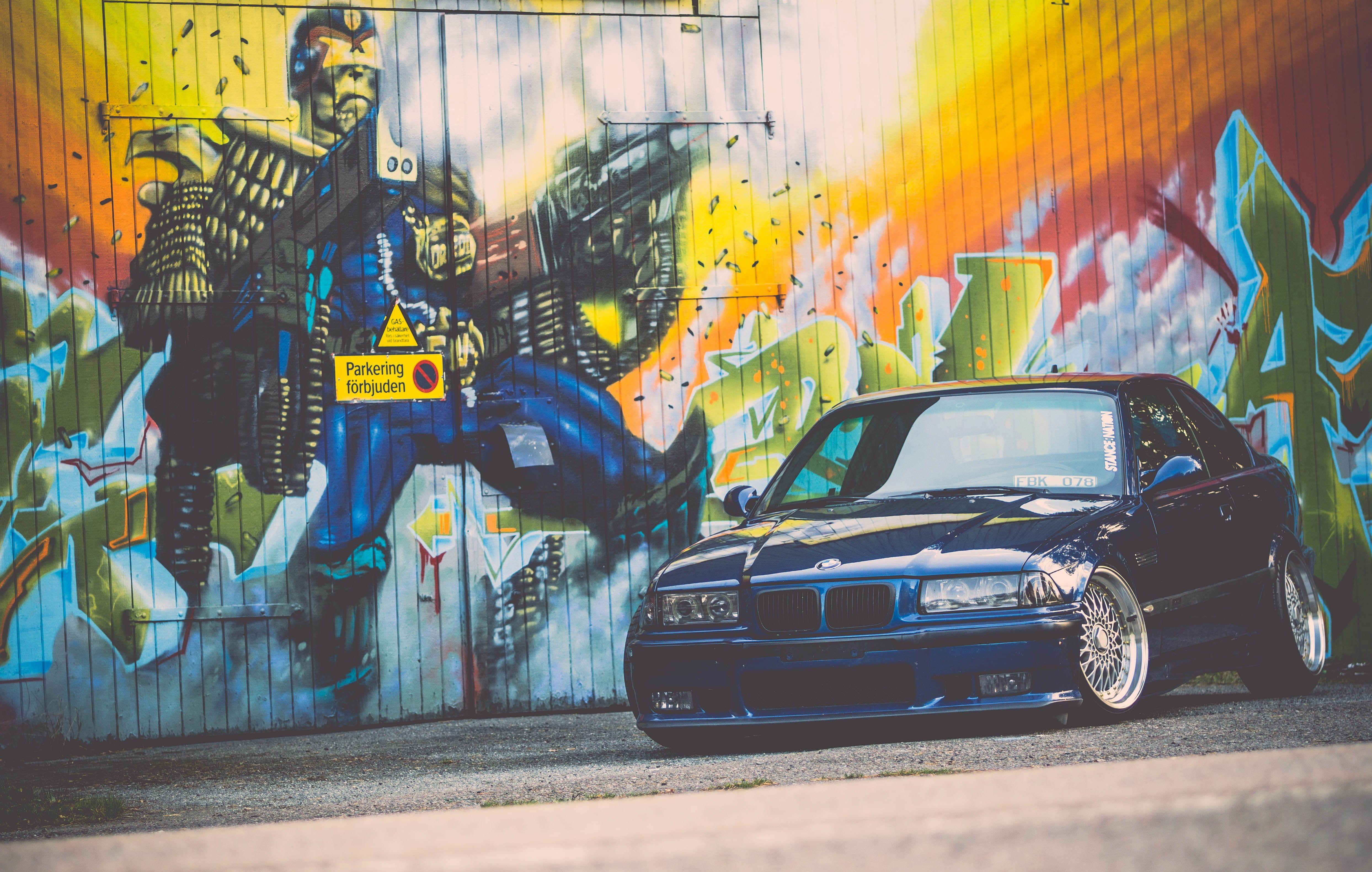 Bmw E36 Tuning E36 M3 Bmw Tuning Stance Blue Graffiti 4k Wallpaper Hdwallpaper Desktop Action Wallpaper Graffiti Wallpaper Graffiti