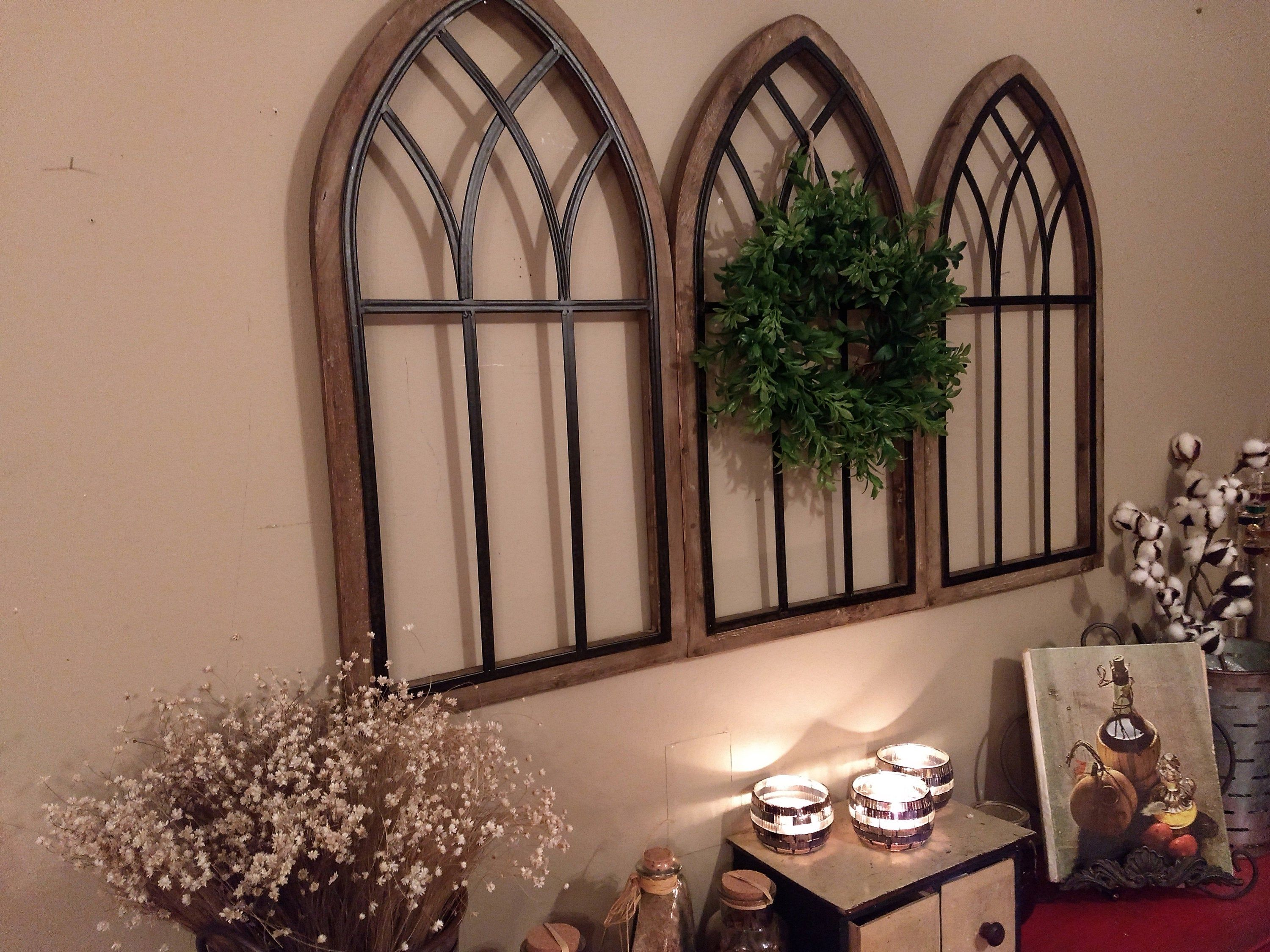 Farmhouse Wall Decor Wreath And Window Rustic Wood Metal Cathedral Arch Church Windows Kitchen Wall Decor Dinning Room Wall Decor Farmhouse Wall Decor Arched Wall Decor Dinning Room Wall Decor