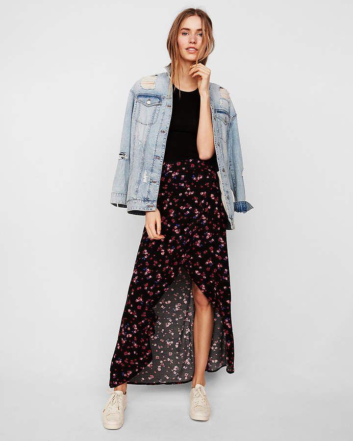 Express Petite Floral Wrap Maxi Skirt  a001a338a