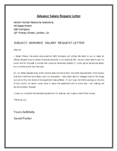 Advance Salary Request Letter Template Proposal Letter A Formal Letter Lettering