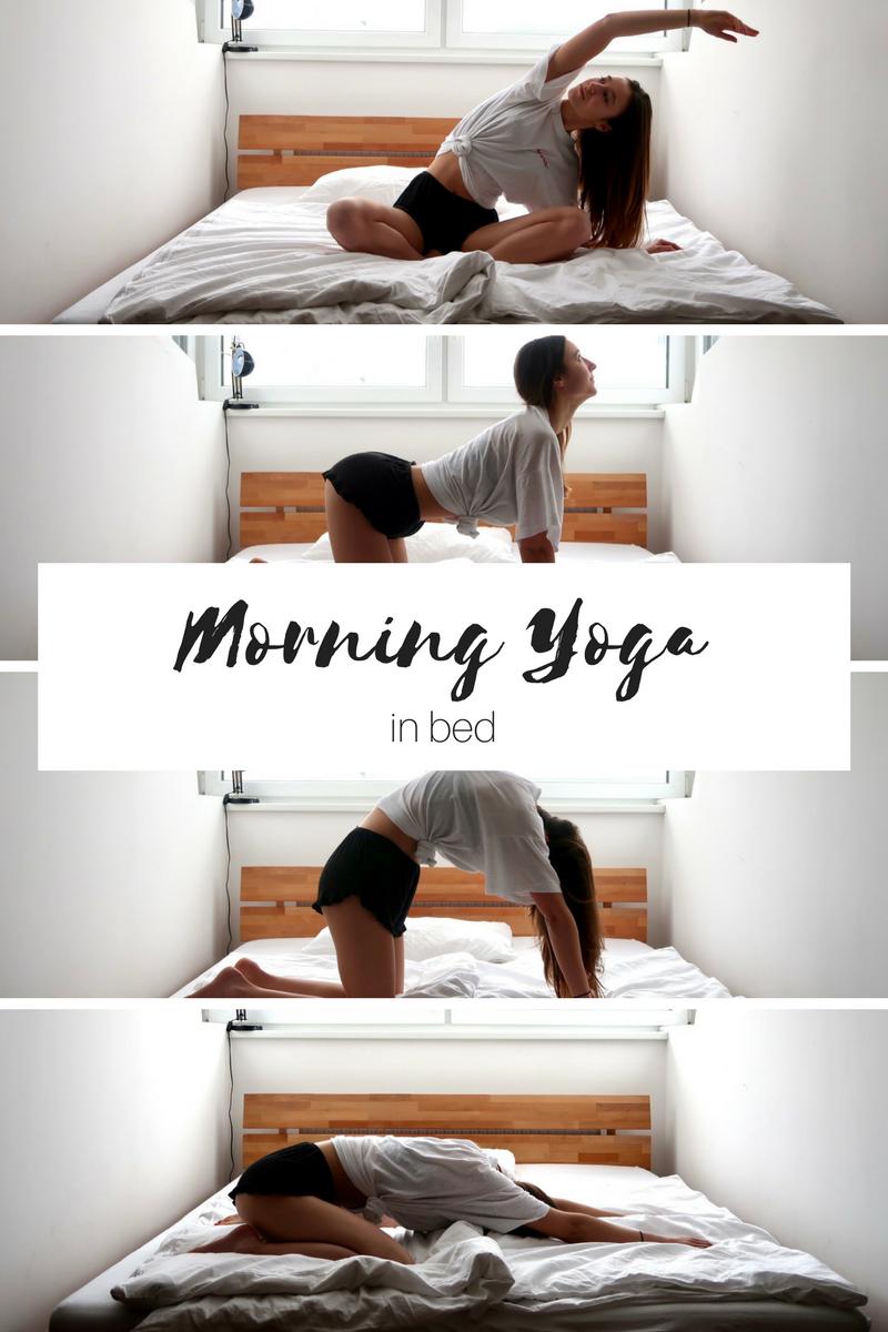 Morning yoga in bed Bed yoga, Exercícios de ioga e Tipos