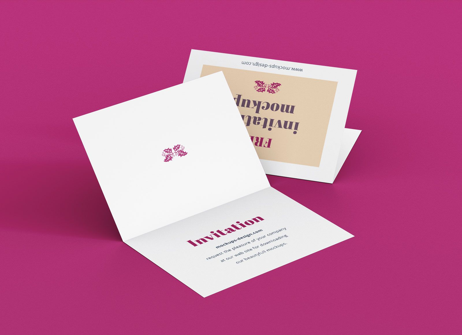 Free A7 Bi Fold Greeting Invitation Card Mockup Psd Set With Regard To Card Folding Templates Free Busi Invitation Mockup Invitation Template Card Template