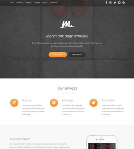 Free Template Maren \u2013 Bootstrap One Page Business Theme Downloads