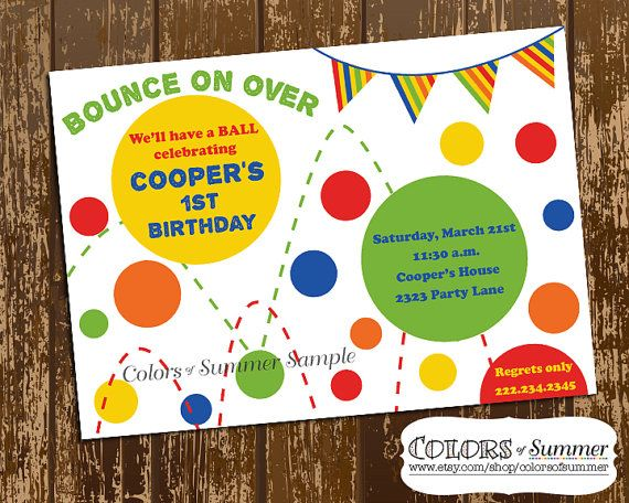 colorful bouncy ball invitation colors of summer birthday digital