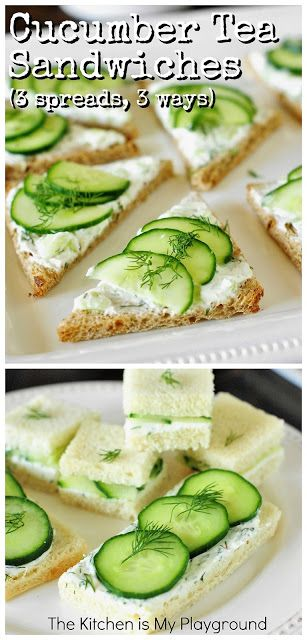 Cucumber Tea Sandwiches ~ 3 Spreads & 3 Ways