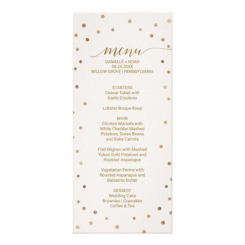 Gold Polka Dots Wedding Menu Card  Wedding Menu Cards Menu Cards