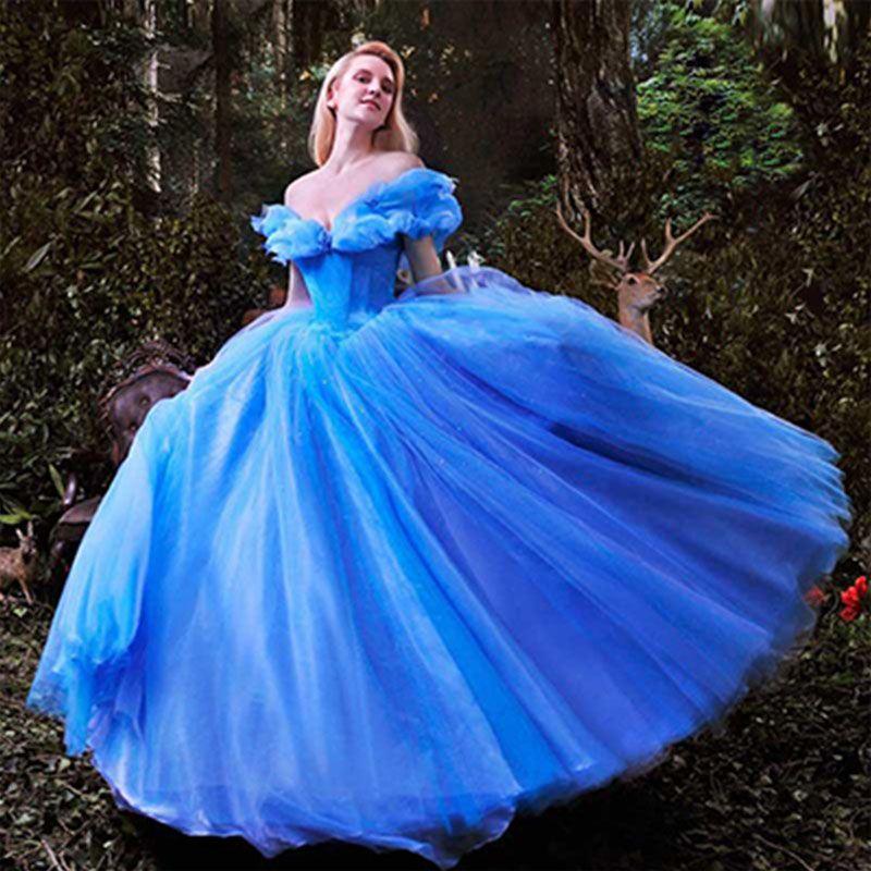 barato wowbridal novo filme deluxe azul cinderela vestido de noiva