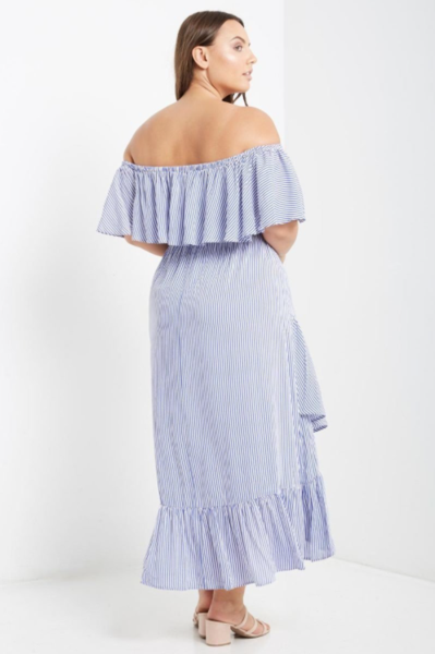 6a654bf77fa4 Plus Size - Savannah Blue And White Striped Off The Shoulder Ruffle Maxi  Dress