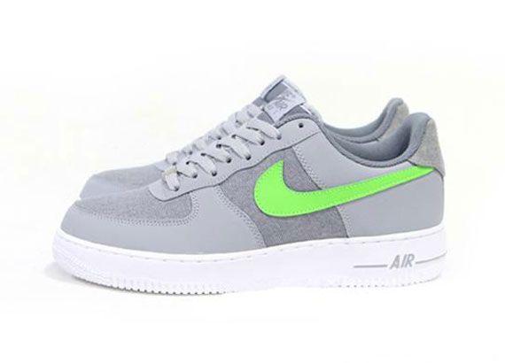 nike air force 1 grey/bright green