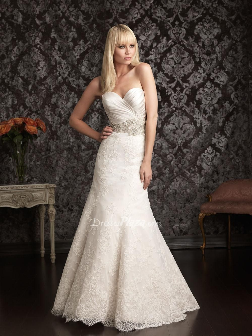 Sweetheart Strapless Ruched Satin Bodice Slim A Line Lace Skirt Bridal Gown