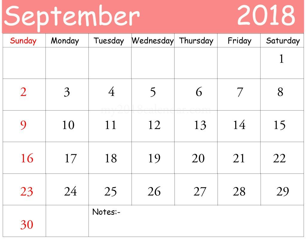 Calendar September Template Excel  Calendar