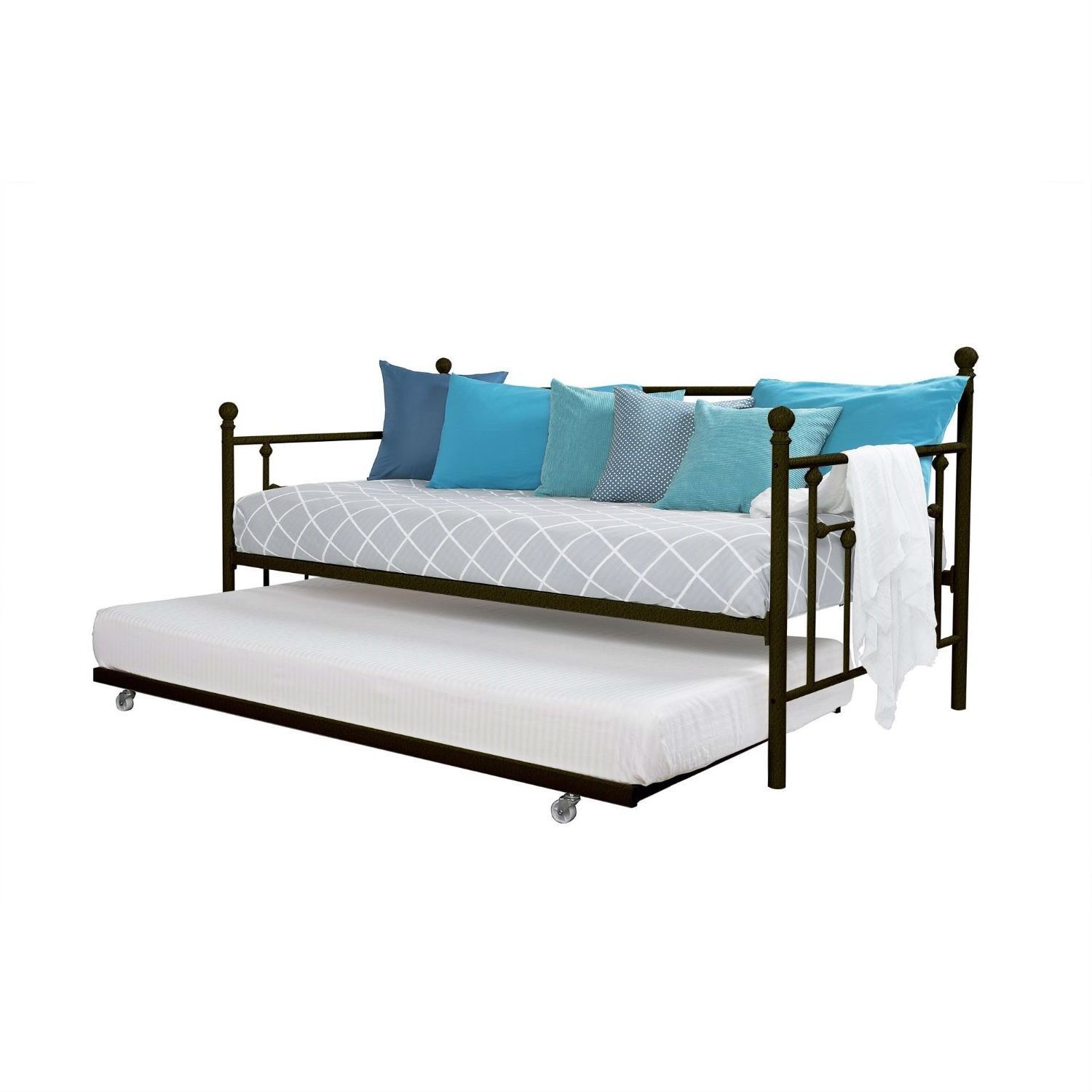 Twin size Metal Daybed with Pull-out Trundle Bed in Bronze Finish ...