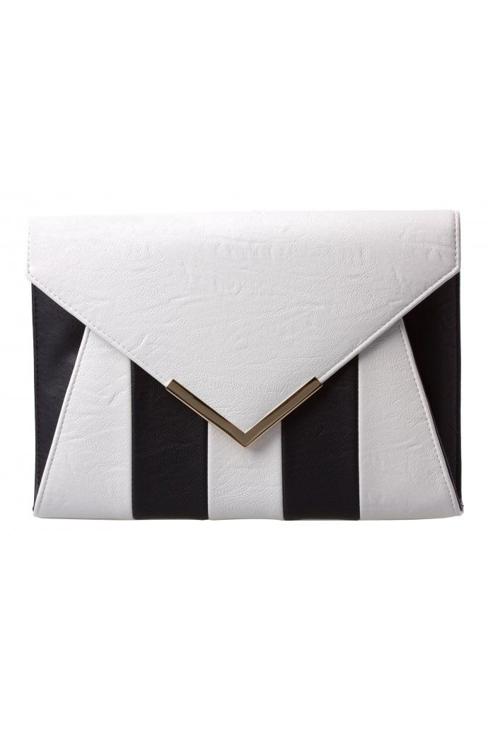 22b1168569 Diagonal Envelope Clutch in Black / White from @colette by colette hayman  (AUD $34.95).