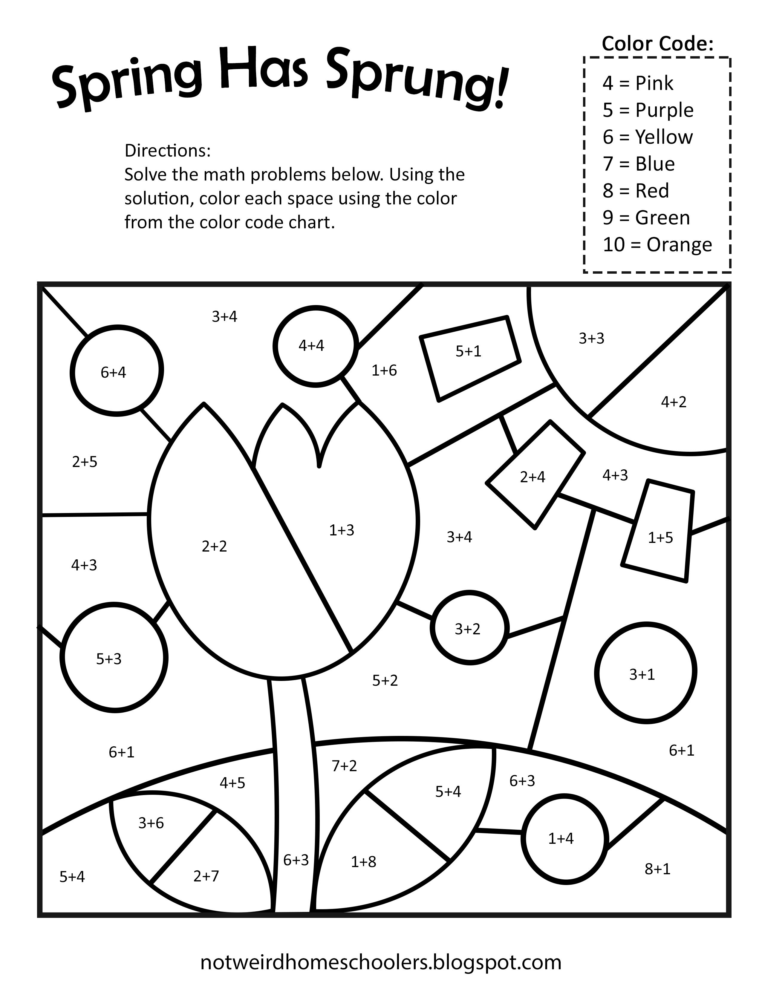 Free Spring Themed Math Coloring Workshee