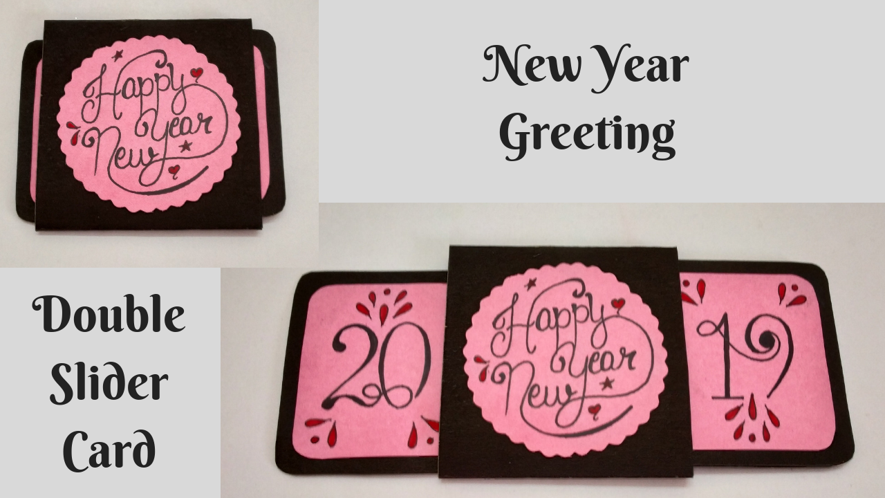 Double Slider Card New Year Greeting Card 2019 Handmade