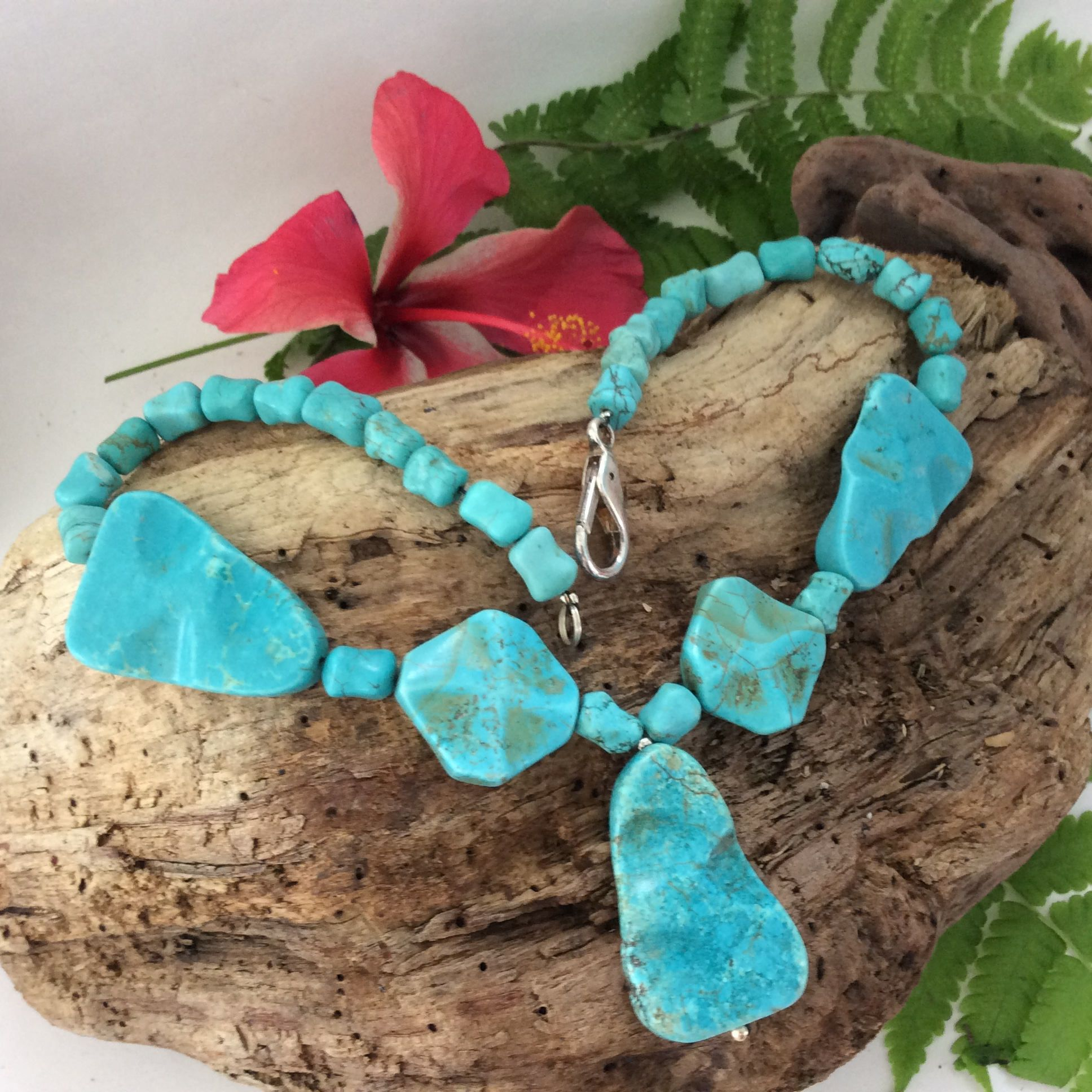 Turquoise Necklace Pendant Chunky Turquoise Beads Semi Precious Stones Silver Clasp Designer Neckla Turquoise Necklace Gift Necklace Necklace Designs