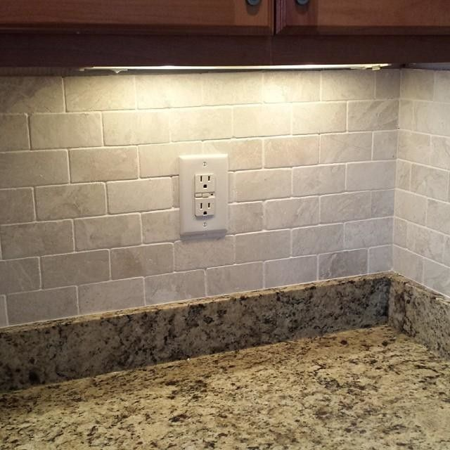 Kitchen Back Splash Tile Grouted Tile Is Queen Beige Tumbled