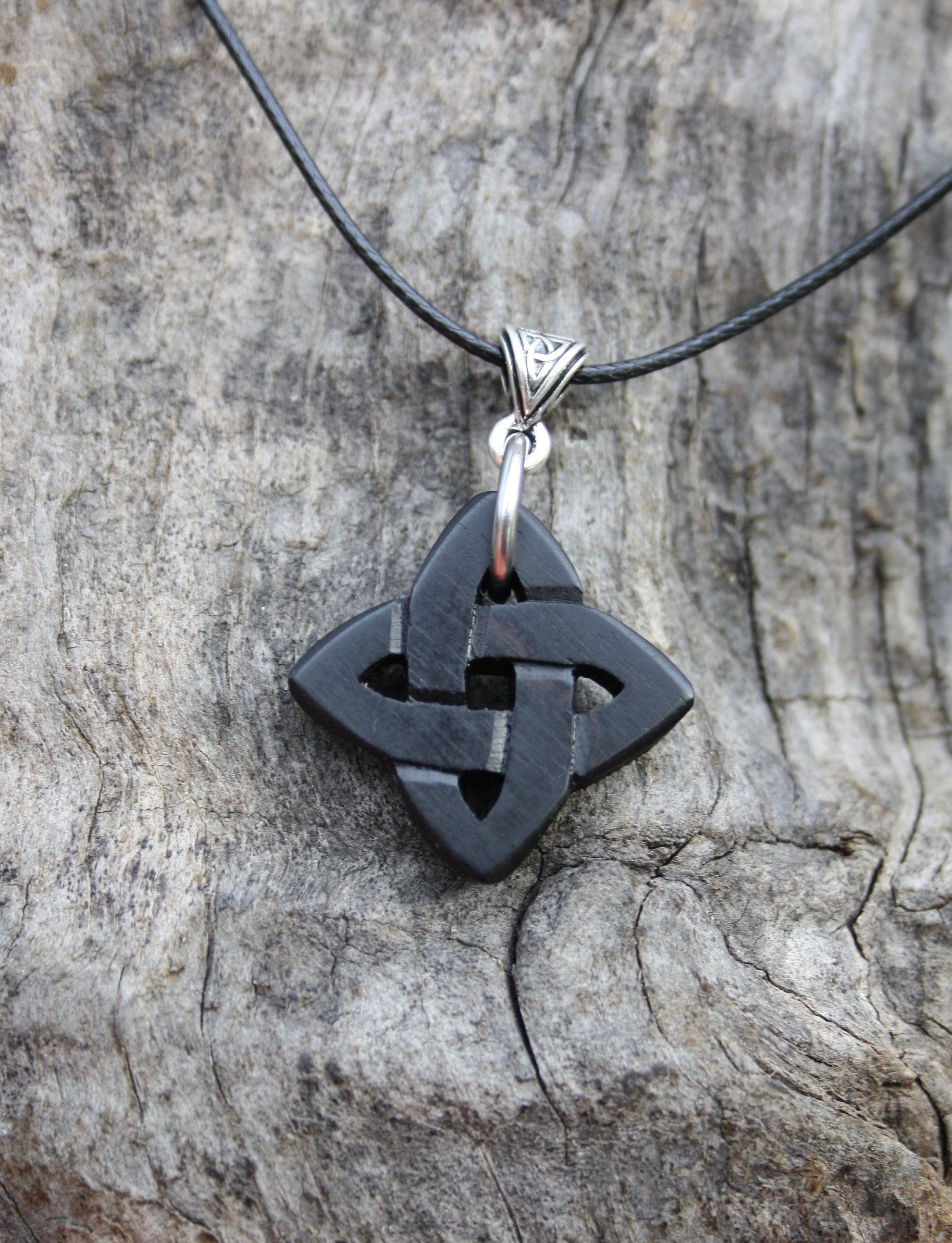 Wooden Love Celtic Necklace Handcarved Ebony Love Knot