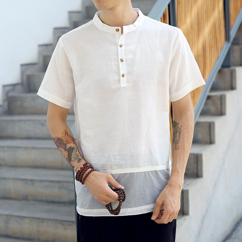 Harajuku Male Casual Shirts Tops Summer Button Casual Linen and Cotton
