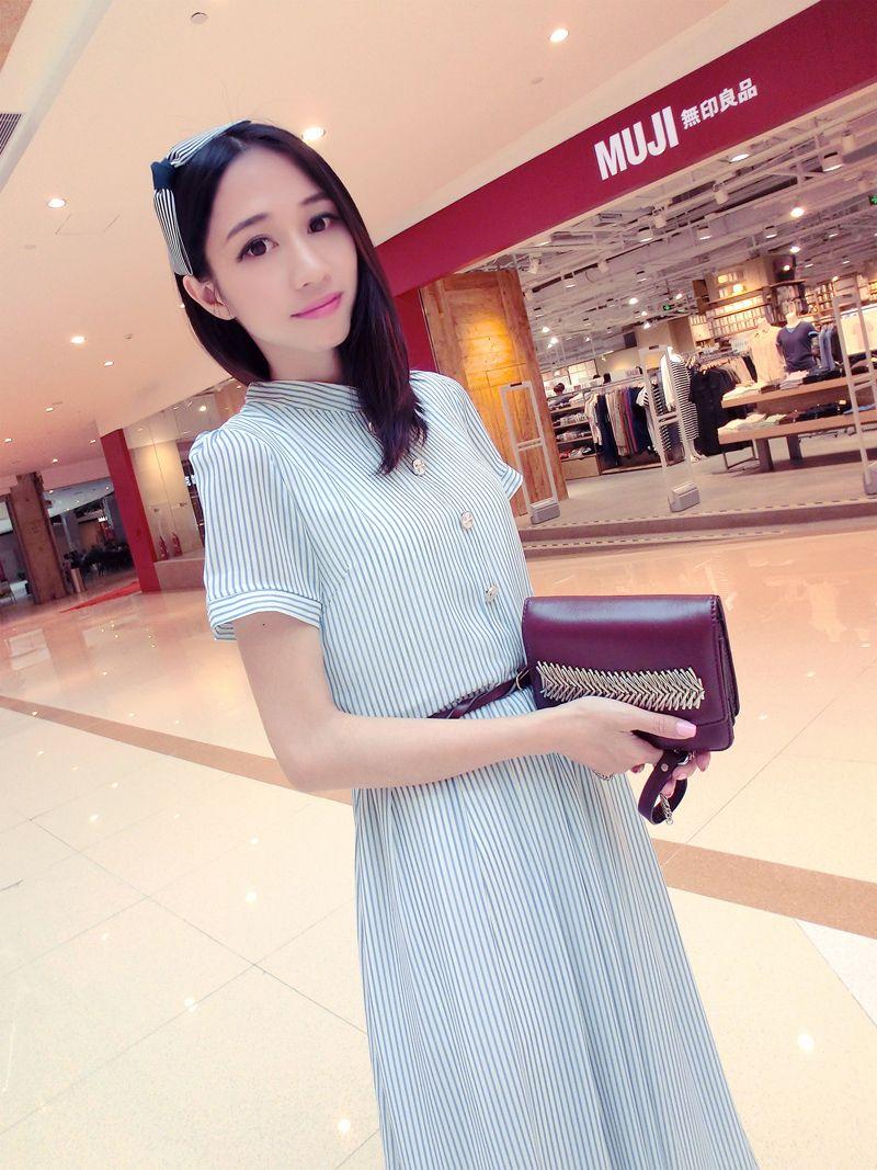 cool #fashion #dress #apparel #clothing 2014 summer casual Women elegant small fresh vertical stripe autumn one-piece dress expansion full dress