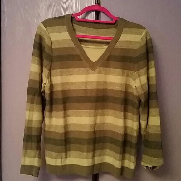 Striped cotton sweater Cute and very comfortable cotton sweater in lovely shades of light green,dark green, and gray. Gently worn and loved. Comes from nonsmoking home and I ship quickly. Bundle with any other item for 15% off. :-) Sweaters Crew & Scoop Necks