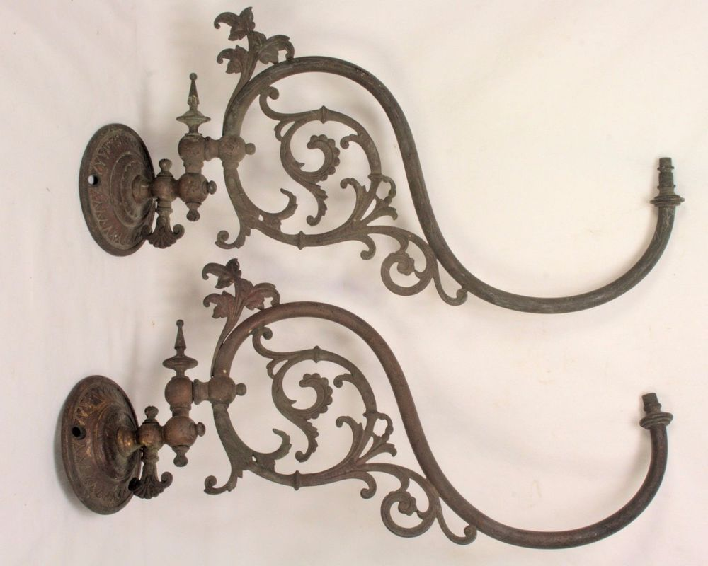 Pair of antique brass gas light scroll sconces lighting fixtures brass antique chandeliers fixtures sconces ebay arubaitofo Gallery