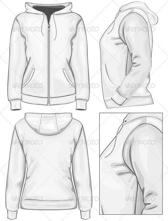 Anime Hoodie Side View : anime, hoodie, Women's, Hooded, Sweatshirt, Zipper, Hoodie, Drawing, Reference,, Illustration,