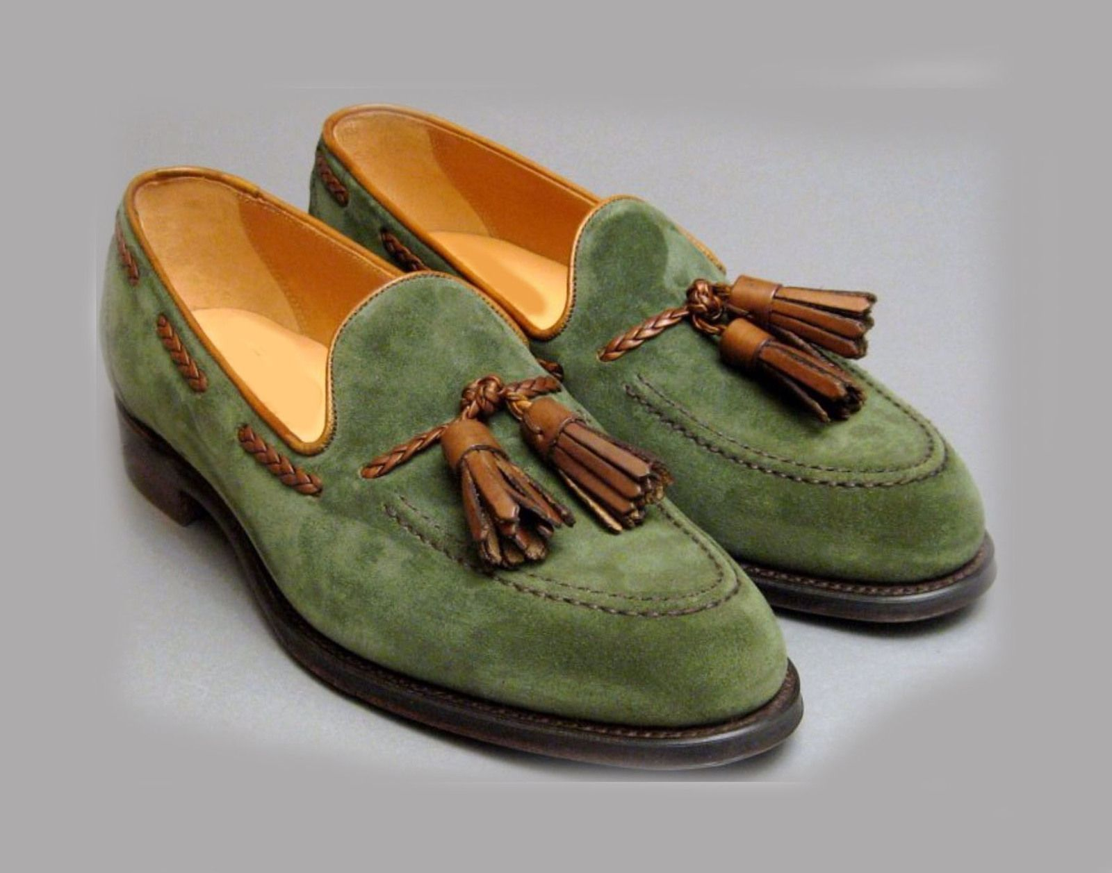 Handmade Green Suede Leather Shoes Men Leather Shoes Men S