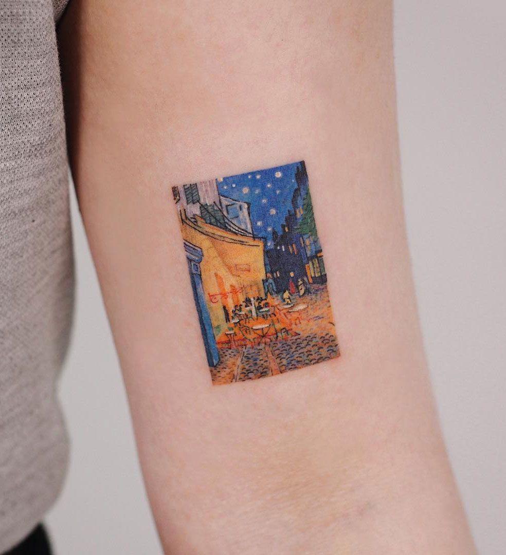 Cafe Terrace At Night Painting Tattoo Tattoos Night Tattoo