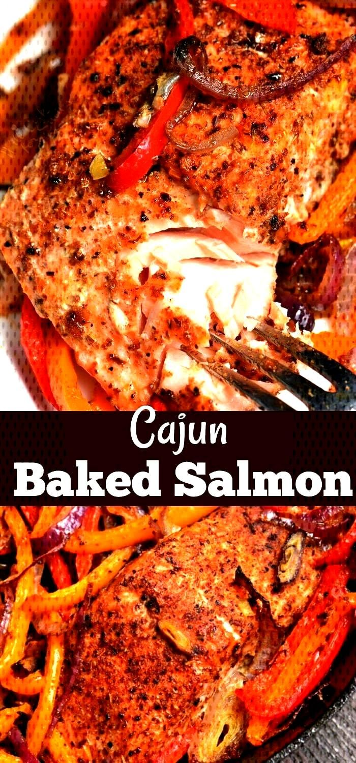 Baked Salmon Cajun Baked Salmon. Juicy, fresh salmon is rubbed with Cajun seasoning and baked with