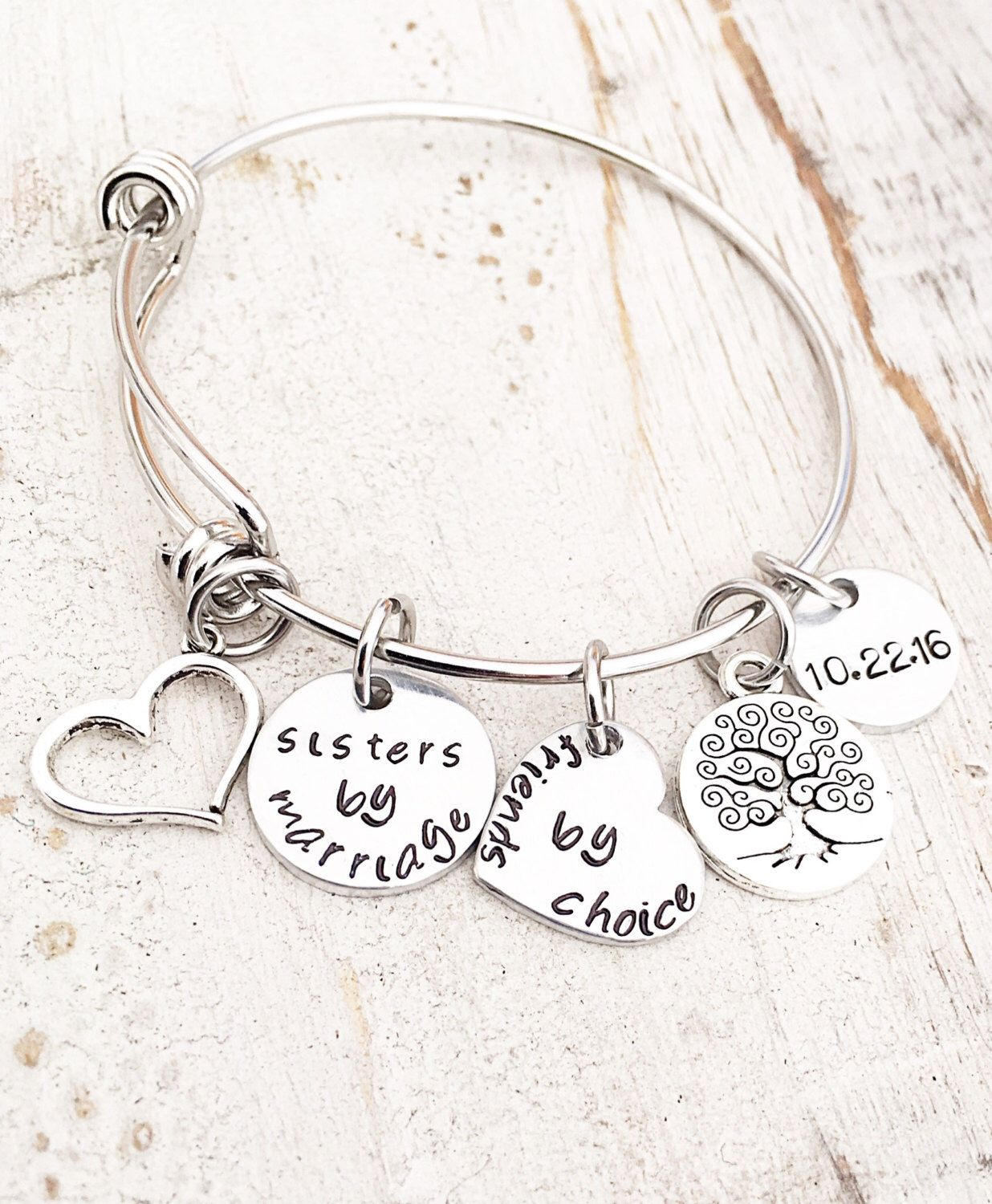 "Gift For Sister In Law Wedding: ""Sisters By Marriage. Friends By Choice"" Personalized"