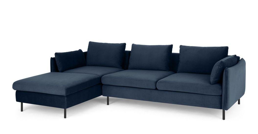 Vento 3 Seater Left Hand Facing Chaise End Corner Sofa Sapphire Blue Velvet In 2020 Corner Sofa Sofa Blue Velvet