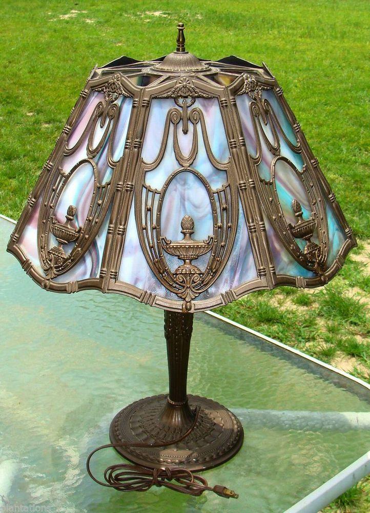 Antique art deco slag/slate tiffany style massive lamp-must see