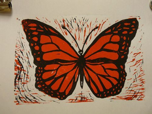 1. Printmaking. This is from a great site with great directions! This lino is made by using both sides of lino, and shows transfer of drawing using pencil/rubbing. Check out her site!