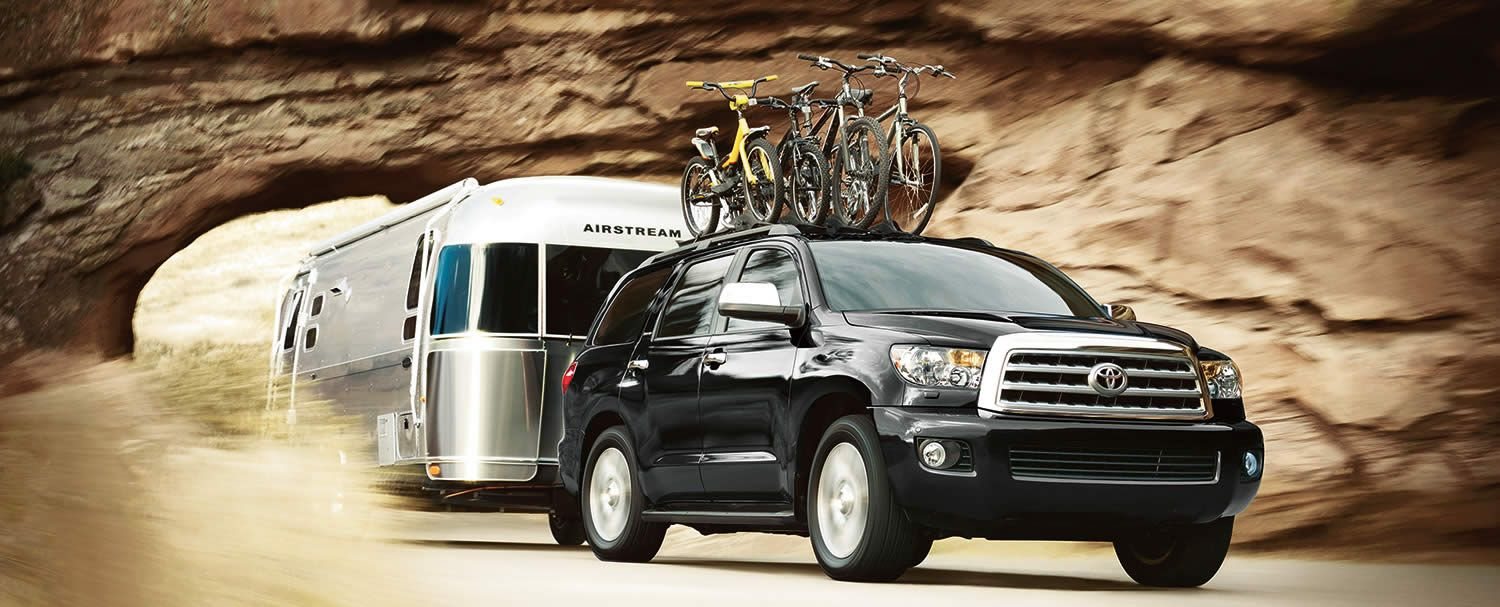2014 toyota sequoia road doggin it hauling pedal power and an airstream