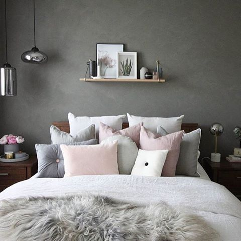 Love this gorgeous grey and pink bedroom image decoride for Grey wall bedroom ideas