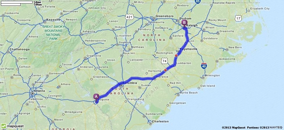 Driving Directions from Augusta Georgia to Raleigh North Carolina
