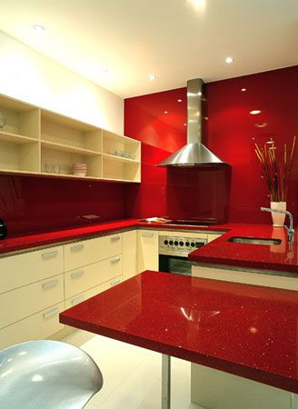 Love The Red Quarts Countertops That Continue Into Backsplash And Up An Accent