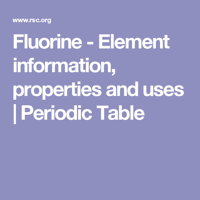 Fluorine Element Information Properties And Uses Periodic Table