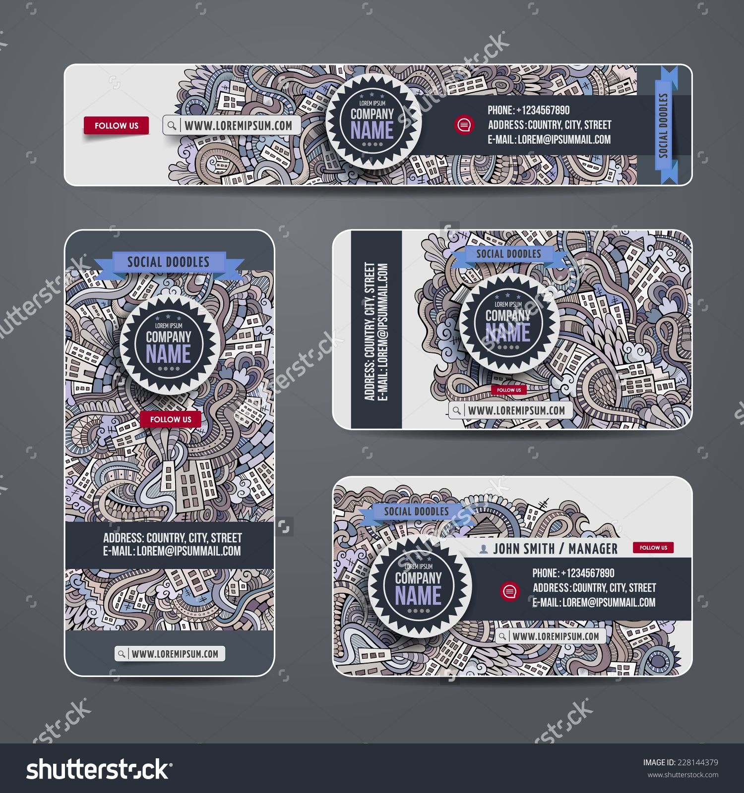 Corporate Identity Vector Templates Set With Doodles Cartoon City