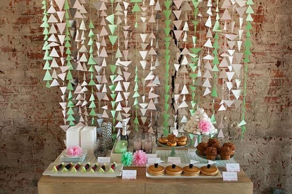DIY triangle hanging wedding or party backdrop