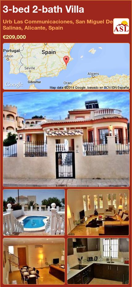 3-bed 2-bath Villa in Urb Las Communicaciones, San Miguel De Salinas, Alicante, Spain ►€209,000 #PropertyForSaleInSpain