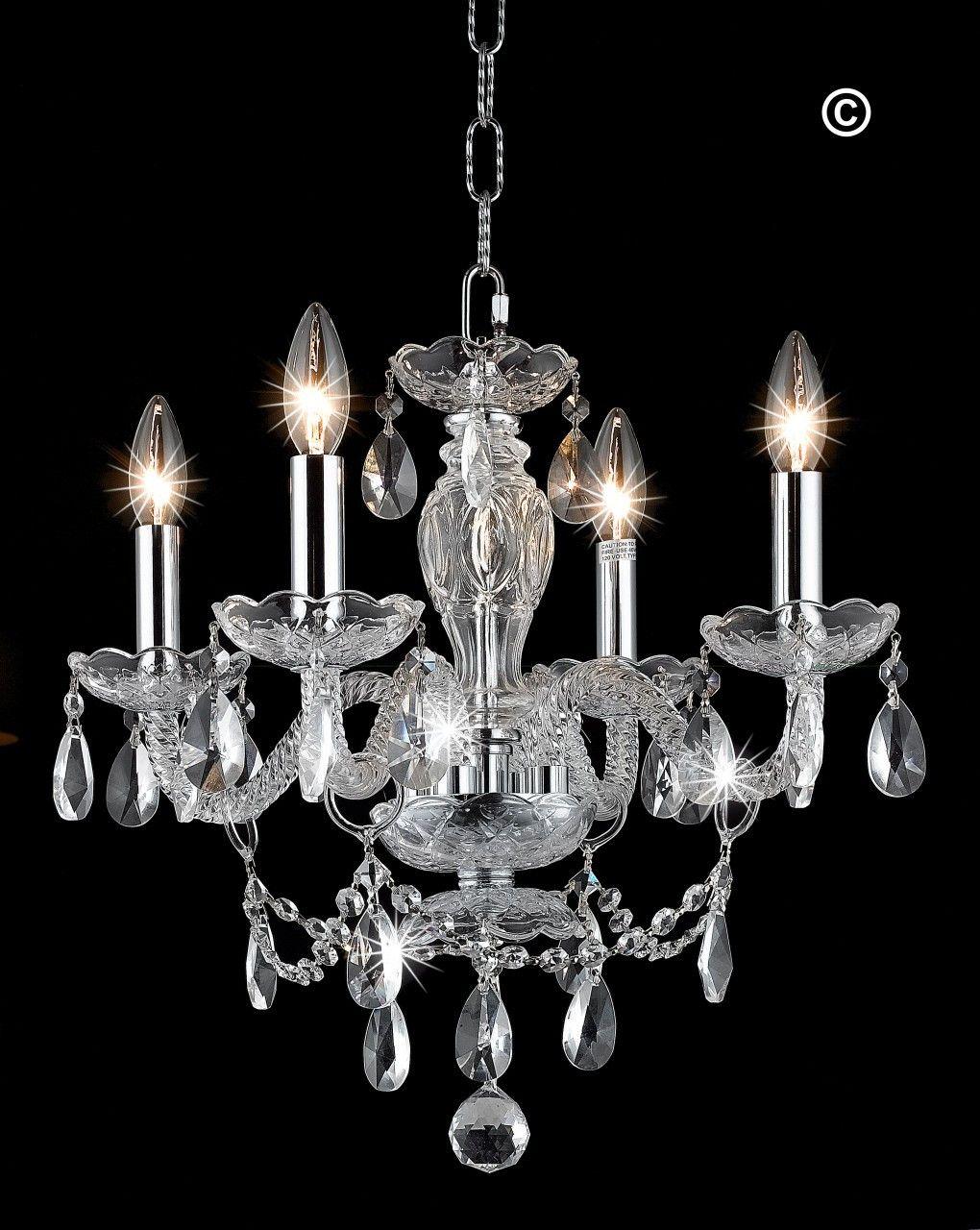 Le Boheme 4 Arm Crystal Chandelier Chrome Elegant Lighting